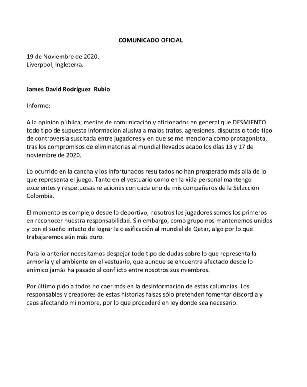 Comunicado publicado por James Rodríguez. (Foto: @jamesrodriguez)