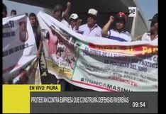 Piura: vecinos protestan contra empresa que construirá defensas ribereñas en el Bajo Piura
