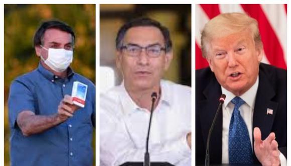 Jair Bolsonaro, Martín Vizcarra y Donald Trump defendieron el uso de ivermectina e hidroxicloroquina. (Foto: AFP).
