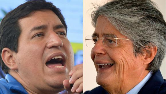 Andrés Arauz (izquierda), ganó la primera vuelta con 32,72% de los votos, seguido de Guillermo Lasso (con 19,74%) y del líder indígena de izquierda Yaku Pérez (19,39%). (Foto: Rodrigo BUENDIA / AFP).