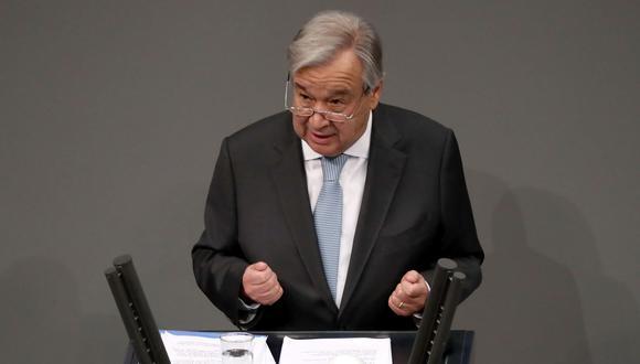Fotografía de archivo del 18 de diciembre de 2020 que muestra al secretario general de la ONU, Antonio Guterres, en el Parlamento alemán en Berlín. EFE/ HAYOUNG JEON /ARCHIVO