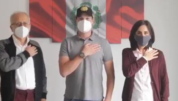 George Forsyth presenta a Patricia Arévalo y Jorge Chávez, integrantes de su plancha presidencial. (Captura Twitter)