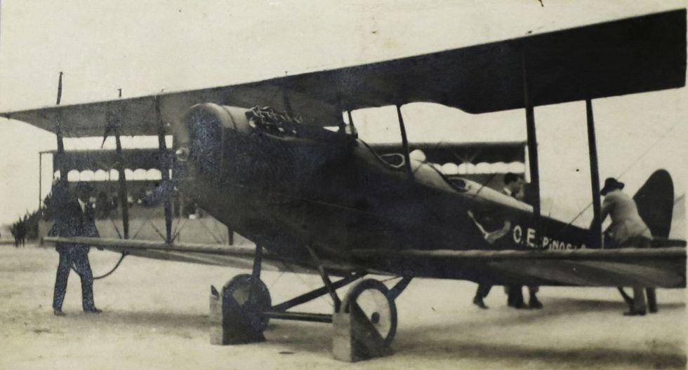 La última fotografía del avión de Espinosa antes de estrellarse. La hélice ya se encontraba funcionando. (Foto: Archivo personal)