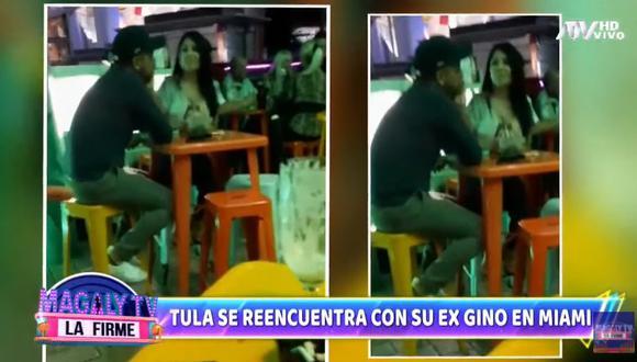 Tula Rodríguez es captada junto a su expareja Gino Barbieri. (Foto: Magaly TV: La Firme).