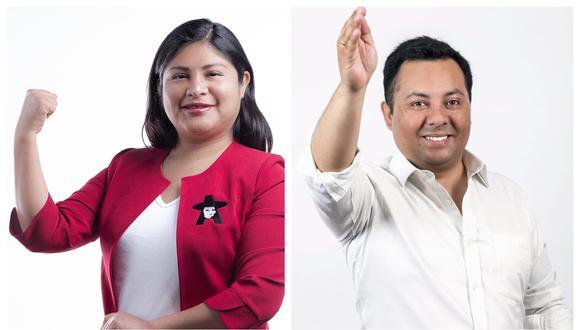Grace Baquerizo (Juntos por el Perú) y Pedro Morales (Acción Popular) debatieron este martes en El Comercio. (Composición: GEC)