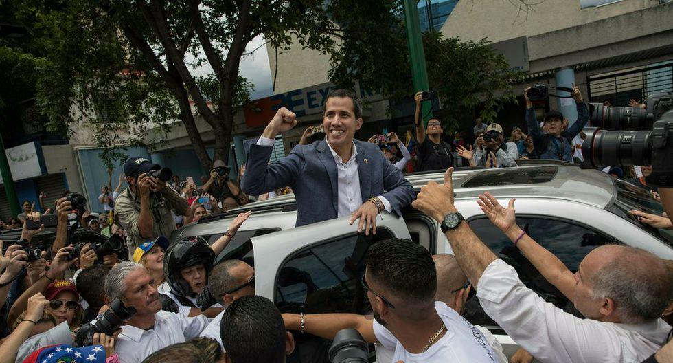 Juan Guaidó en un mitin en Caracas este mayo. (Rodrigo Abd/Associated Press).