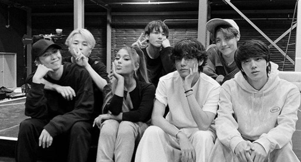 Antes de la ceremonia realizada en Los Ángeles, Ariana Grande y BTS se juntaron para una foto que revolucionó las redes. (Foto: Instagram)