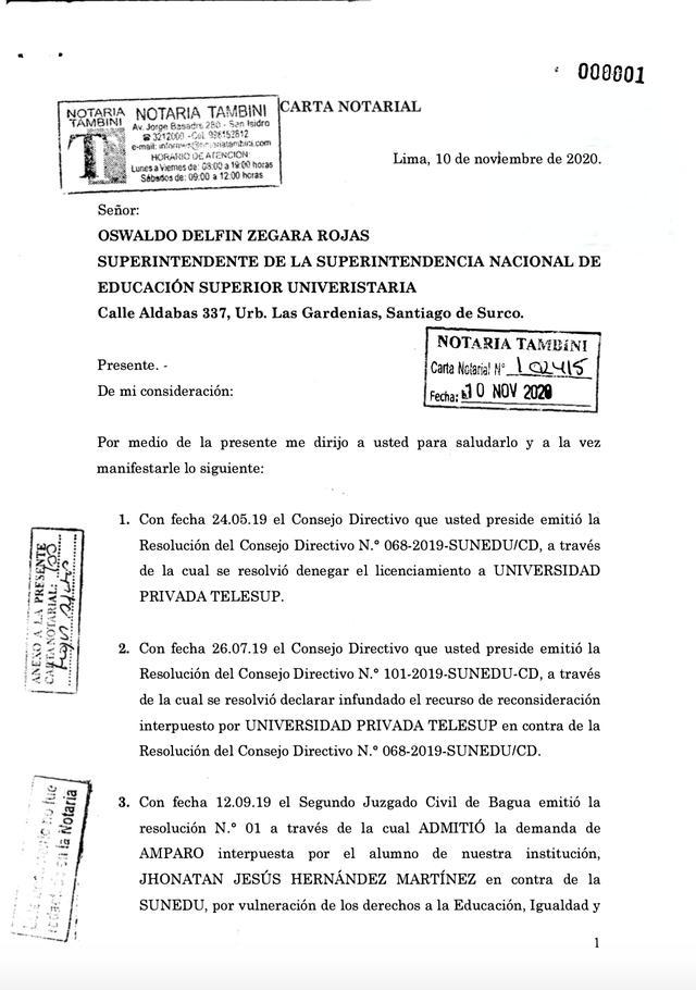 Esta es la carta notarial enviada por Telesup a Sunedu el pasado 10 de noviembre a la cual accedió El Comercio.