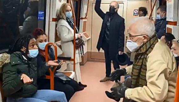 Gritos e insultos al interior del metro de Madrid. ¿El motivo? Una mascarilla mal puesta. (Foto: @EstherYez / Twitter)