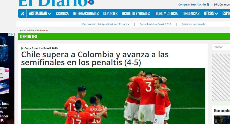 Así informaron los medios internacionales la clasificación de Chile en la Copa América. (El Diario de Ecuador)