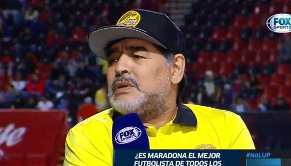 Diego Maradona conversando con Fox Sports México.