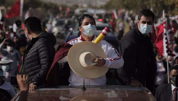Pedro Castillo, candidato presidencial de Perú Libre, llegó el sábado a Arequipa para participar en el debate presidencial del JNE | Foto: Leandro Britto / @photo.gec