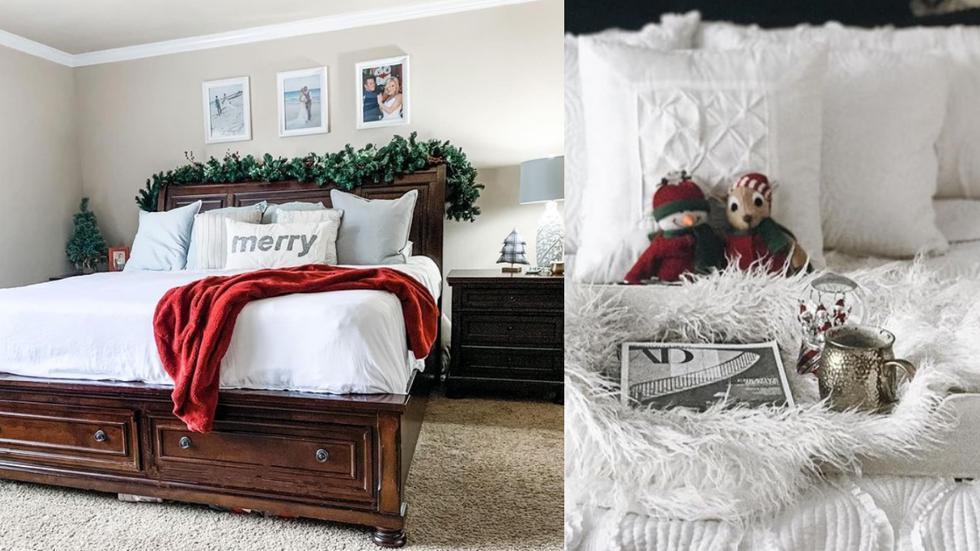Si eres amante del minimalismo, opta por añadir detalles navideños a tu habitación para lograr un resultado sencillo. Algunas opciones son colchas, peluches o almohadas de los colores o estampados típicos de las fiestas.  (Fotos: IG @melissa_beeler_/@casshenny)