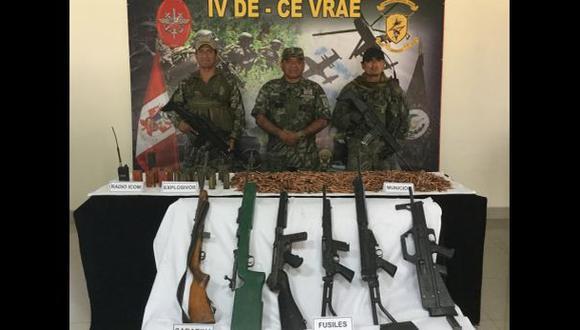 Vraem: patrulla incautó armamento en campamento terrorista