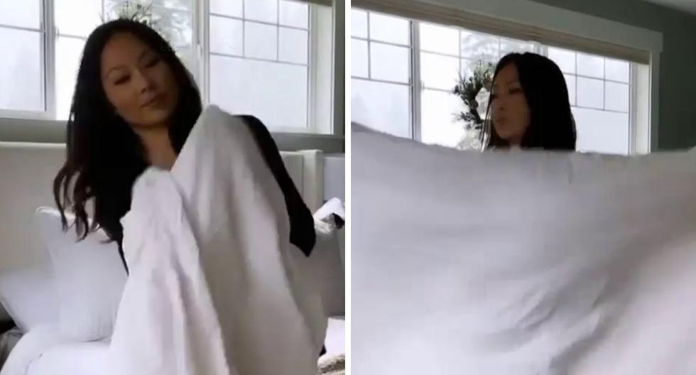 Una joven enseña en Instagram su técnica para doblar una sábana con suma facilidad