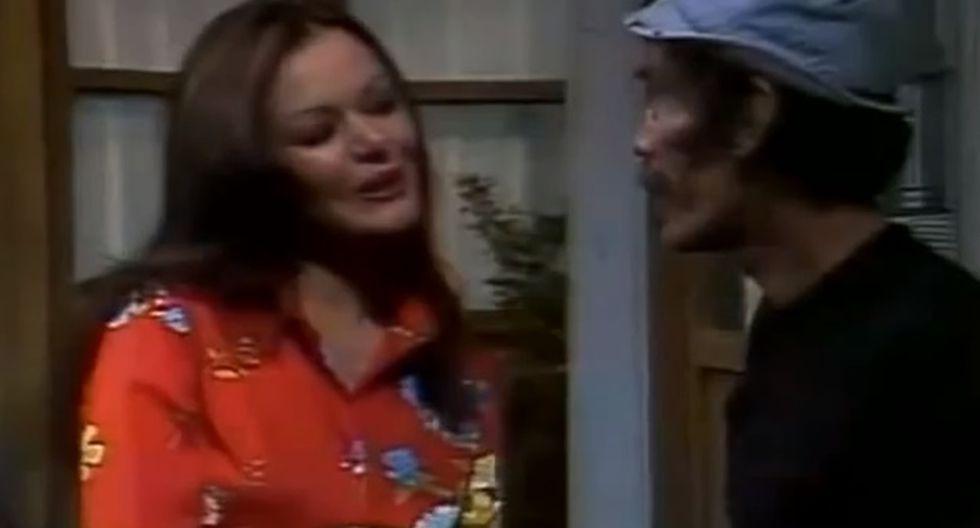 La actriz Olivia Leyva, junto a Ramón Valdés, en una escena de El Chavo del Ocho.