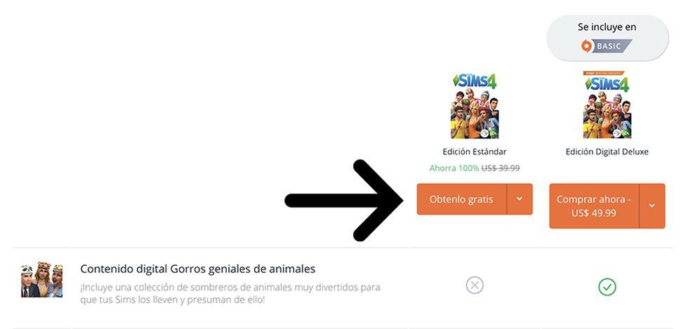 """Tenemos que seleccionar """"Obtenerlo gratis"""" para tener el juego para siempre. (Captura de pantalla)"""