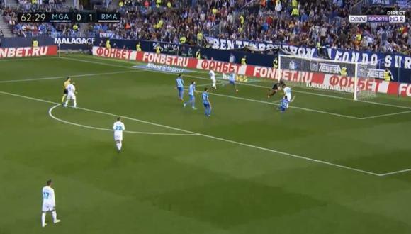 Casemiro firmó el 2-0 parcial del Real Madrid sobre el Málaga en la Rosaleda. Esta es la quinta conquista del mediocampista brasileño en el curso liguero español. (Foto: captura de pantalla)