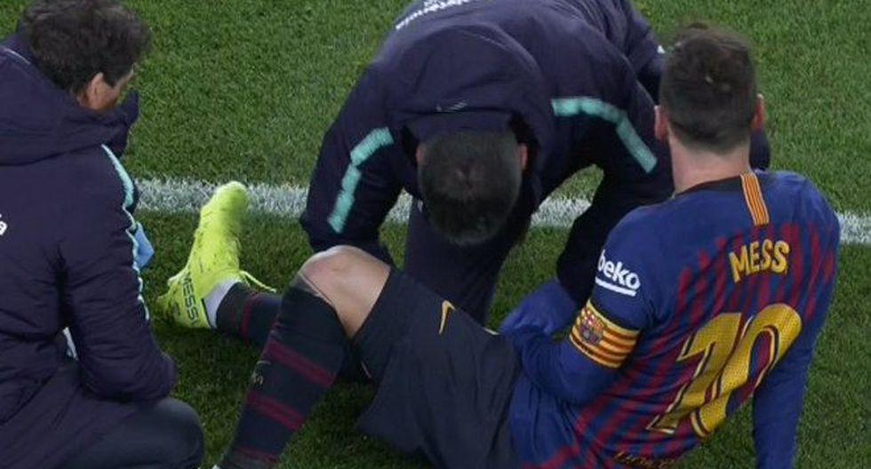 El periodista David de las Heras aseguró que Lionel Messi es duda para enfrentar al Real Madrid porque terminó el encuentro ante Valencia con una lesión muscular. (Foto: Marca).