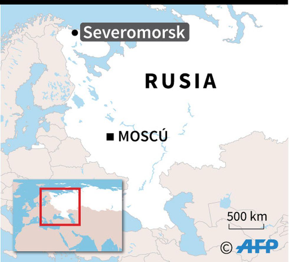 Localización de Severomorsk en Rusia, puerto del submarino de investigación ruso en donde se declaró el lunes un incendio. (AFP)