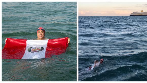En su juventud, Eduardo Collazos nadó competitivamente representando al Perú. Ya en su madurez busca vencer retos personales. En la segunda imagen se lo ve cruzando el Canal de la Mancha. (Fotos: Archivo Personal)
