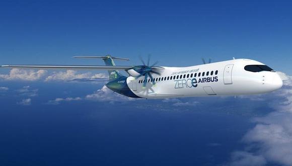 Uno de los diseños de aviones a hidrógeno que explora Airbus para 2035. (Imagen: Airbus)