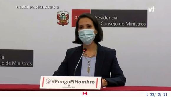 La ministra Claudia Cornejo (en la imagen) junto con la ministra Silvana Vargas brindaron la conferencia de prensa. (Captura de imagen: TVPerú)