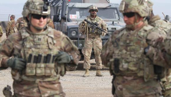 Soldados estadounidenses asisten a una sesión de entrenamiento para militares del ejército afgano en Herat, Afganistán, el 2 de febrero de 2019. (AFP).