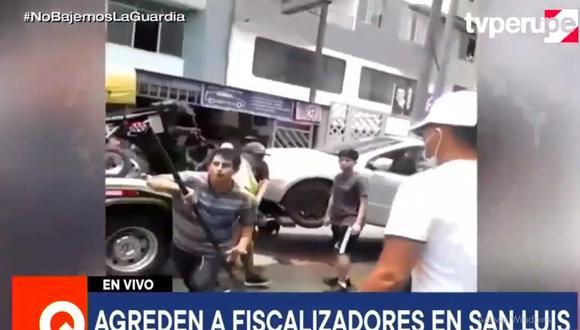 La agresión a fiscalizadores de San Luis ocurrió en la cuadra 17 de la avenida Canadá. (TV Perú Noticias)