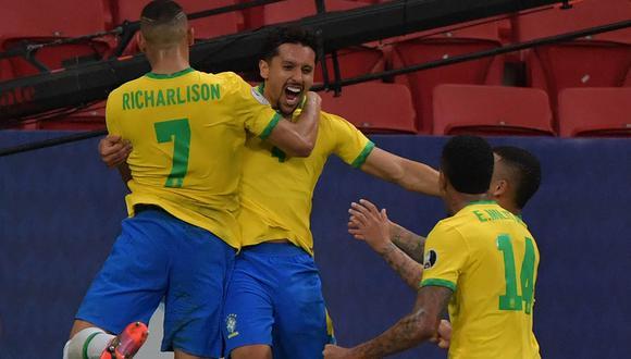 Marquinhos marcó a los 23 minutos y abrió el camino del triunfo. Brasil ganó por 3-0 a Venezuela, en partido por el grupo B de la Copa América 2021.| Foto: AFP