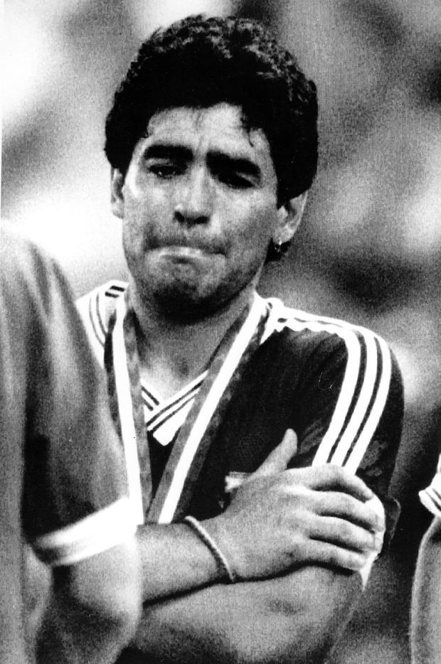 Diego Maradona è triste dopo aver perso la finale dei Mondiali del 1990 Foto: A.P.