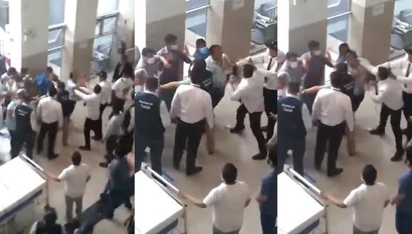 Gresca ocurrió en el primer piso del hospital. Según el Minsa, el personal médico trató de impedir la instalación de camas de hospitalización para pacientes con COVID-19.