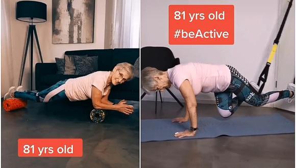 Erika Rischko, la abuela de 81 años es viral en TikTok con sus bailes y videos de fitness. (Foto: erikarischko / TikTok)