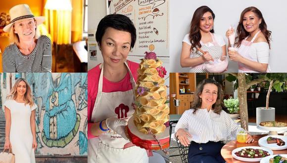 Petit Miribel (izq. arriba), Francesca de Orbegoso (izq. abajo), Milagro Huamán (centro), Rosalyn y Katherine Picón (der. arriba) y Ana Belaunde (der. abajo). Fotos: Difusión.