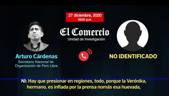 """Arturo Cárdenas, hombre de confianza de Vladimir Cerrón, conversa con una persona sobre la intención de """"restar gente"""" al Frente Amplio y Juntos por el Perú. (Foto: Captura)"""