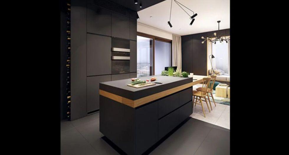 La madera clara puede funcionar como punto de color en estancias totalmente negras. Para darle un efecto dramático al lugar y acentuar su esencia moderna, utiliza iluminación blanca. De Plasterlina.