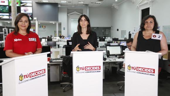 Candidatas Rocío Silva Santisteban y Nidia Vílchez debaten en El Comercio (Foto: Violeta Ayasta/ GEC)