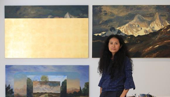 La artista Sandra Gamarra participa en el proyecto De Voz a Voz Perú, con una obra que destaca la resistencia de las mujeres. Foto: Paul Vallejos / Archivo El Comercio