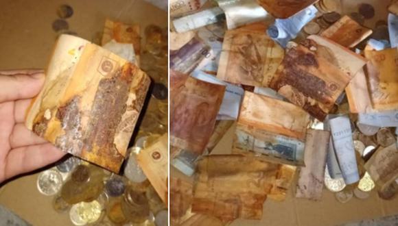 Una mujer se llevó una desagradable sorpresa al querer usar los ahorros que tenía en su casa: las monedas se oxidaron y volvieron inservibles los billetes. (Foto: Lily Noorly Mohd Noor / Facebook)