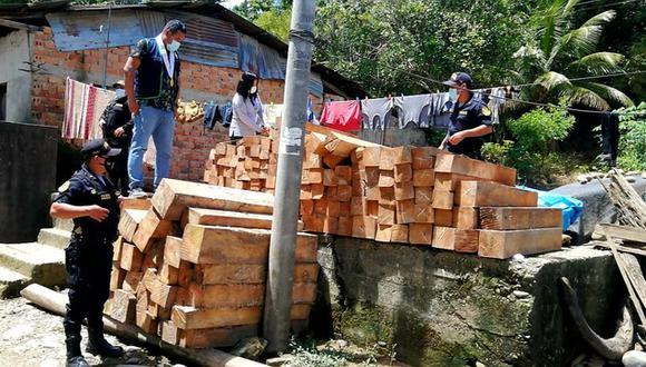 El 11 de enero, las autoridades encontraron 1500 pies tablares motoaserrados del producto forestal maderable 'bolaina'. (Foto: Ministerio Público)