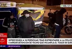 Policía interviene a 14 personas tras impedir detención de vecino infractor