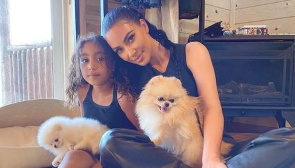 La socialité posó junto a su hija mayor North West y dos de sus perritos, Sushi y Saké. (Foto: @kimkardashian / Instagram)