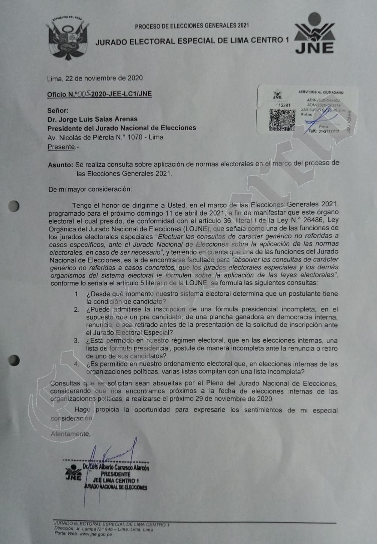 El documento que el JNE recibió de parte del JEE Lima Centro 1. (Imagen: El Comercio)