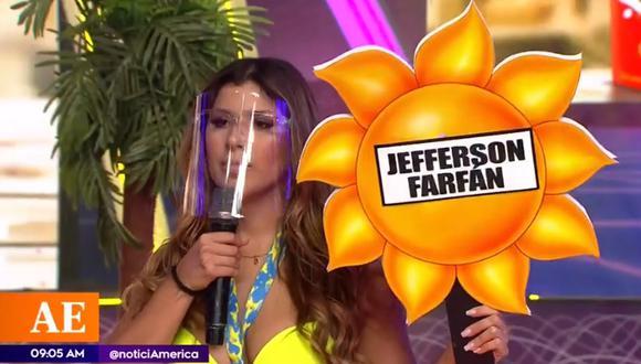 """Yahaira Plasencia explica su reacción al nombrar a Jefferson Farfán en uno de los juegos de """"Esto es Guerra"""". (Foto: Captura de video)"""
