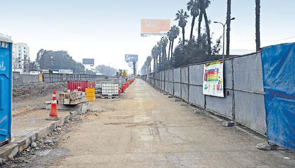 Las obras en intercambio vial El Derby, en Surco, se encuentran solo al 23%. Según la concesionaria de la obra no pueden avanzar debido a que los terrenos del Jockey Club aún no son expropiados. (Rolly Reyna / El Comercio)