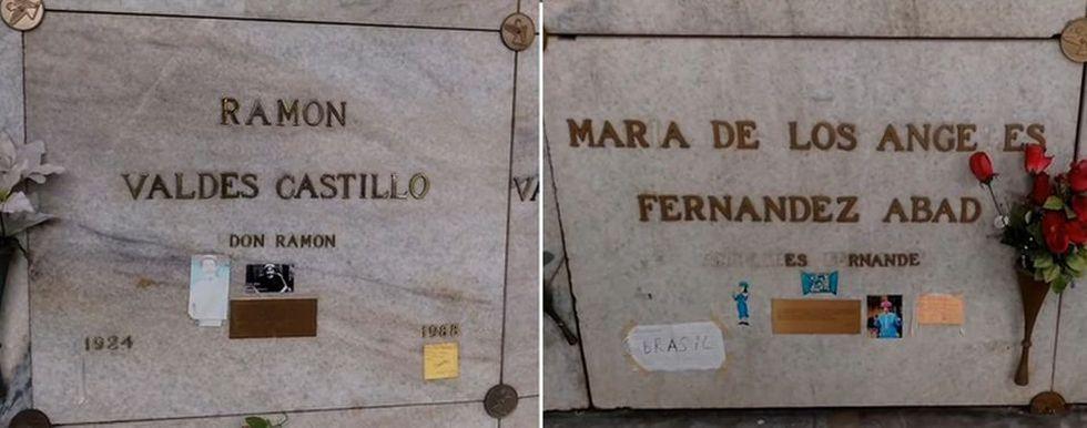 Ramón Valdés y Angelines Fernández se encuentran enterrados uno al lado del otro. (Captura YouTube, lunajtr)