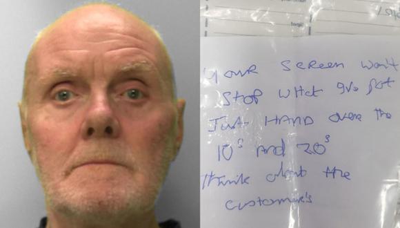 Alan Slattery asaltó un banco, pero su historia trascendió por su mala letra en medio del atraco. (Foto: Sussex Police)