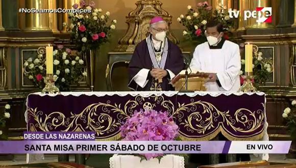 Durante la ceremonia, el monseñor Carlos Castillo instó a los fieles a no acercarse hasta la iglesia de Las Nazarenas, ya que este reciento permanecerá cerrado al público. (Foto: Captura TV PERÚ)