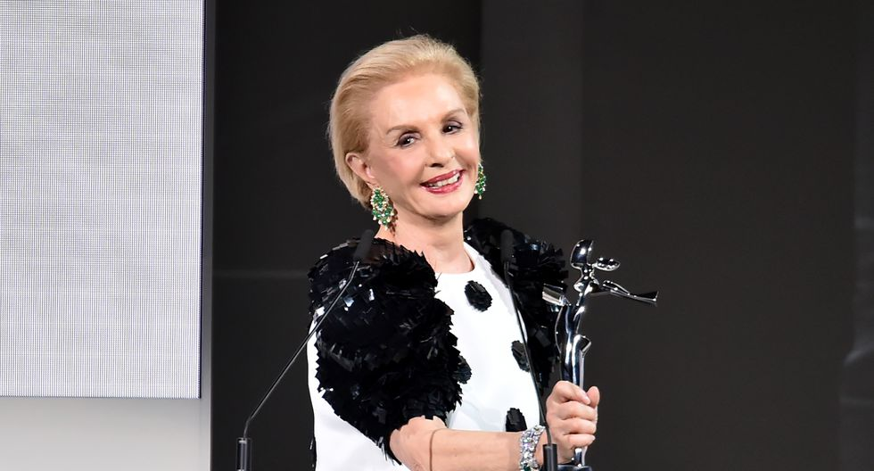 NEW YORK, NY - JUNE 04: Designer Carolina Herrera accepts the 2018 CFDA Founders award during the 2018 CFDA Fashion Awards at Brooklyn Museum on June 4, 2018 in New York City.   Theo Wargo/Getty Images/AFP