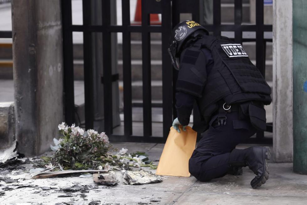 San Borja: lanzan explosivo contra local de Indecopi (Foto: Andrés Paredes)